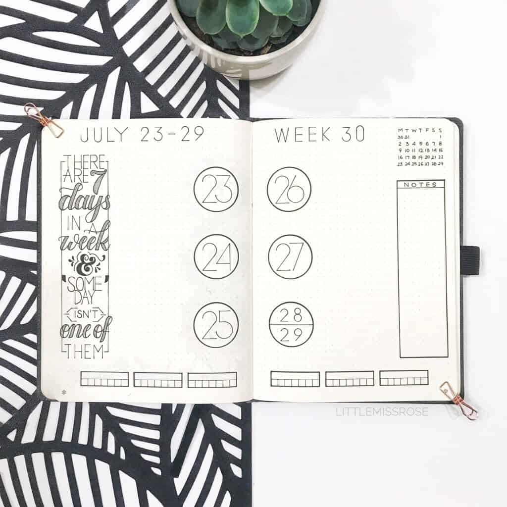 Bullet journal spread with calendar dates and circles.