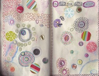 Buttons and circles on a journal page.