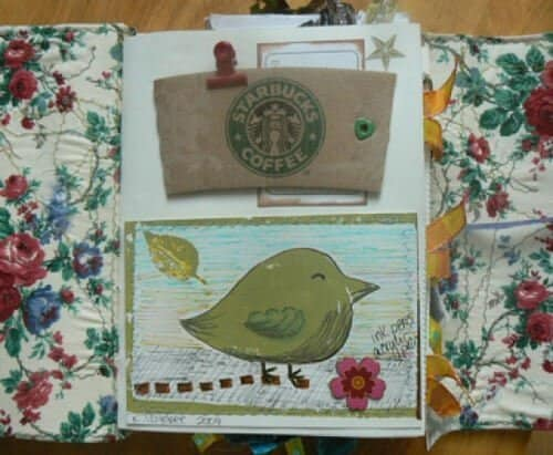 Coffee cozie from Starbucks and a stamped green bird.