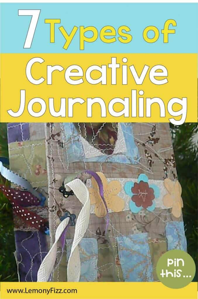 A scrappy journal with fabric, flowers, and ribbon.
