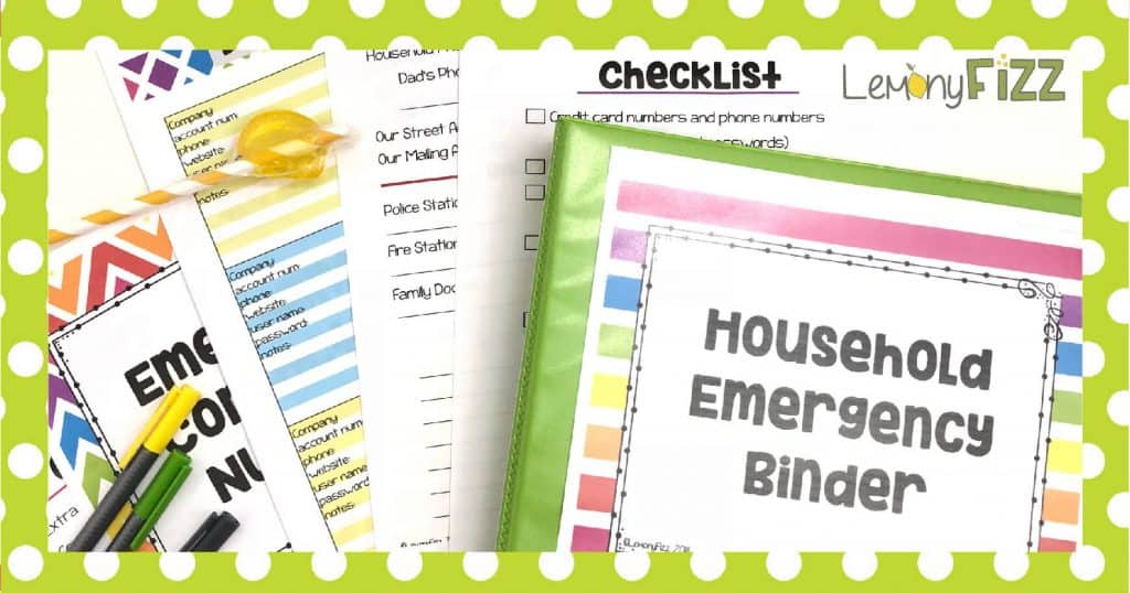 Household emergency binder with printable papers and pens.