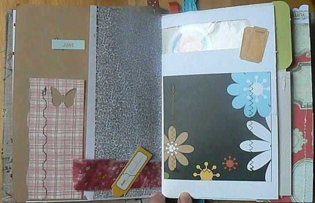 A scrap journal page with flowers and butterflies.