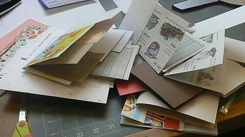 A pile of scraps to use in a type of creative journaling.