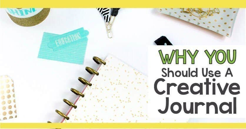 Why should you use a creative journal? Spiral bound journal and office supplies on a white background.