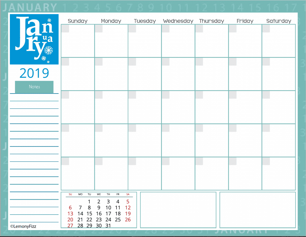 Free monthly calendar pages for 2019. Get your free download and start your planning for the New Year.