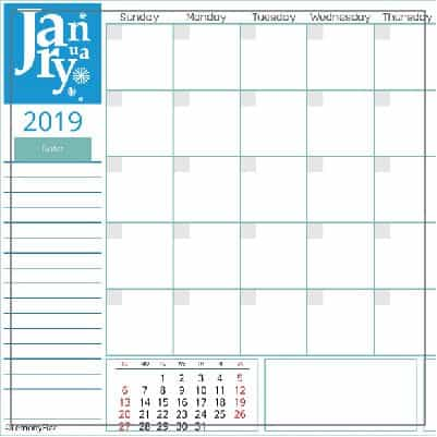 Free calendar pages for 2019