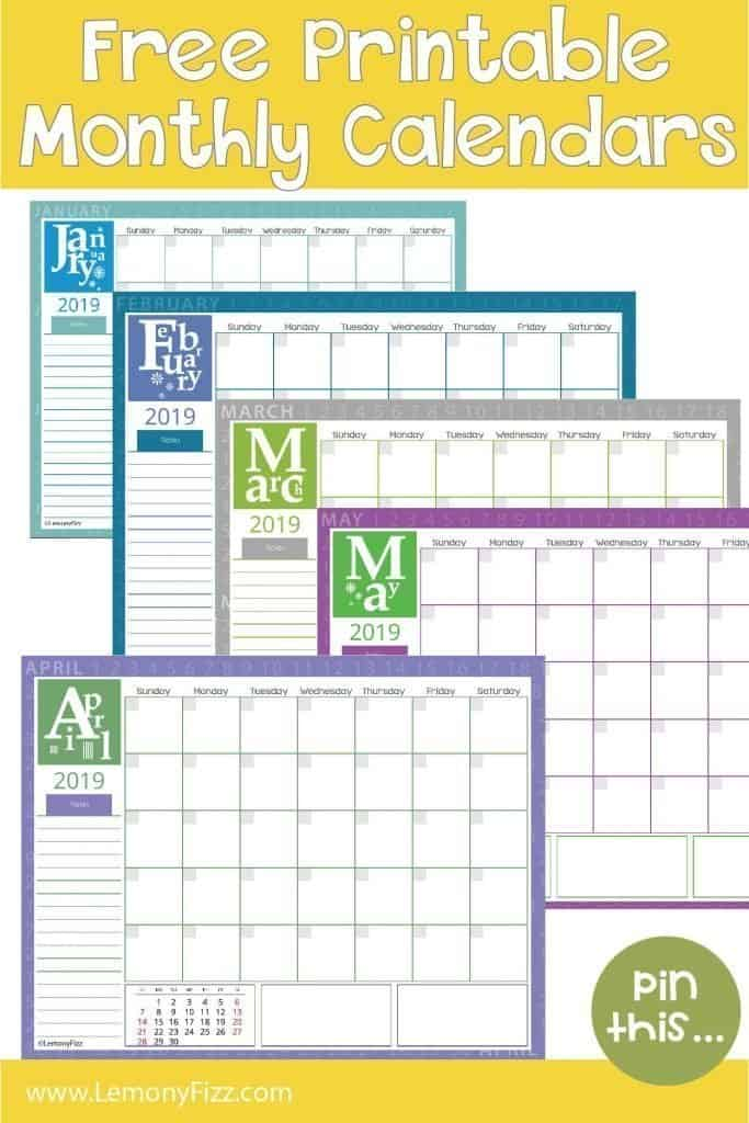 Get a free set of printable calendars for 2019. Download and print what you need, when you need it. @LemonyFizzPrintables