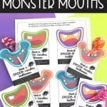 Monster mouth printables with Tootsie Pop suckers.