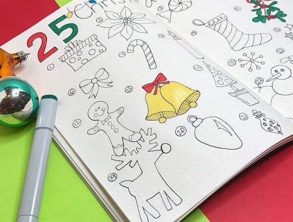 Christmas Doodles for bullet journals. Create your 25 days of Christmas advent calendar and unique page spreads.