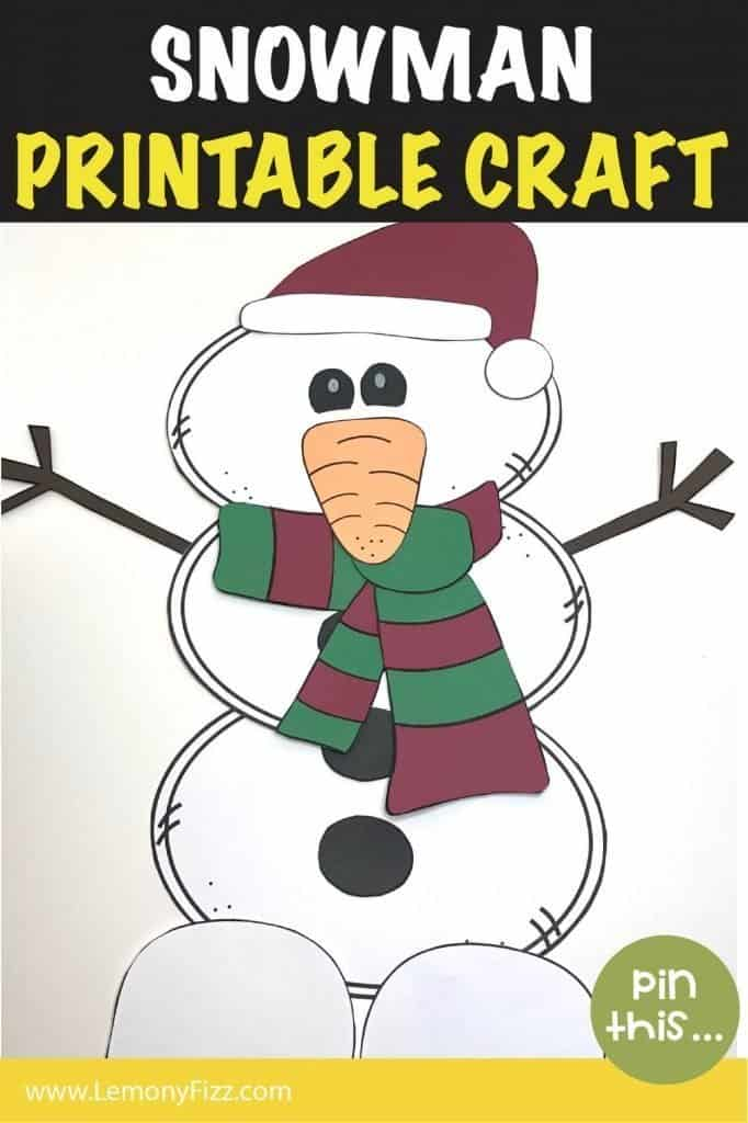 Paper snowman craft with hat and scarf.