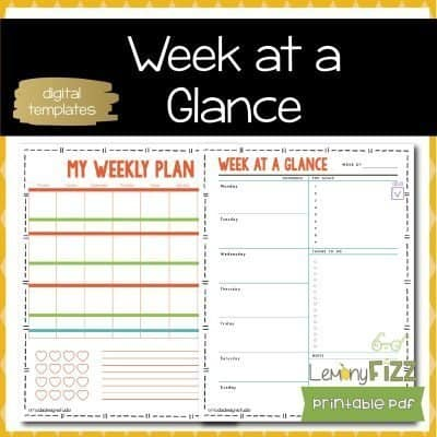 My Week at a Glance Schedules and Printables for DIY Planners