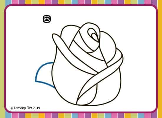 how to draw a rose with step by step directions. step 8