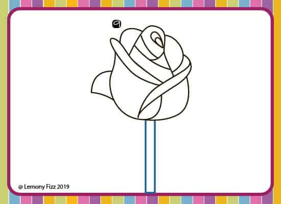 how to draw a rose with step by step directions. step 9