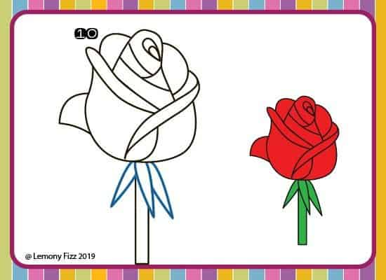 how to draw a rose with step by step directions. step 10