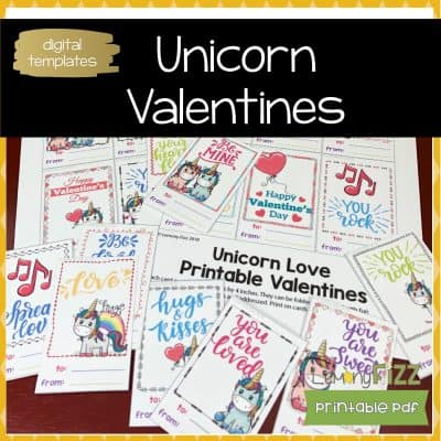 Unicorn Valentines Printable Cards