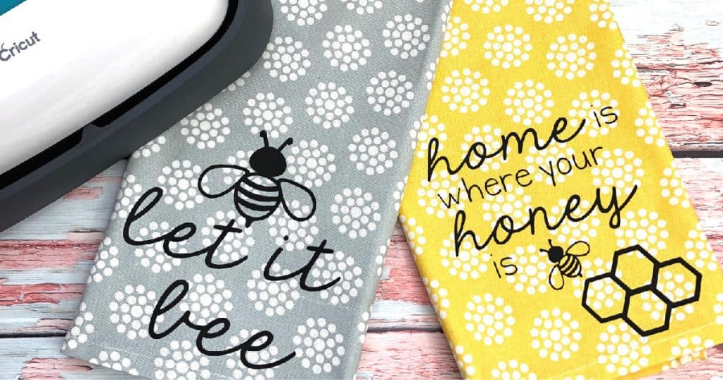 Let it Bee quote tea towel free SVG vinyl file
