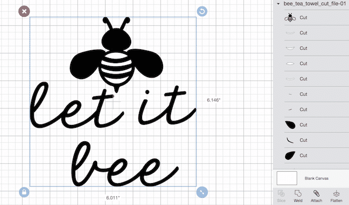 Let it bee tea towel SVG files. How to mirror the image in Cricut Design Space. Step 1