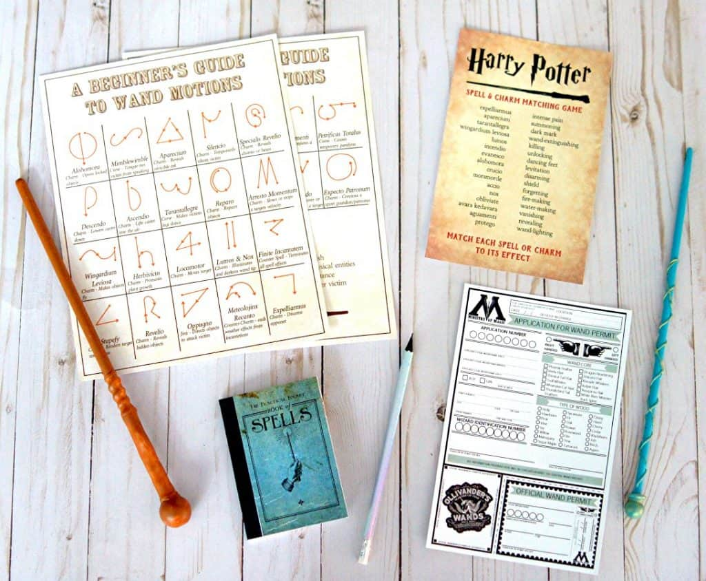 Harry Potter crafts and spells printable.