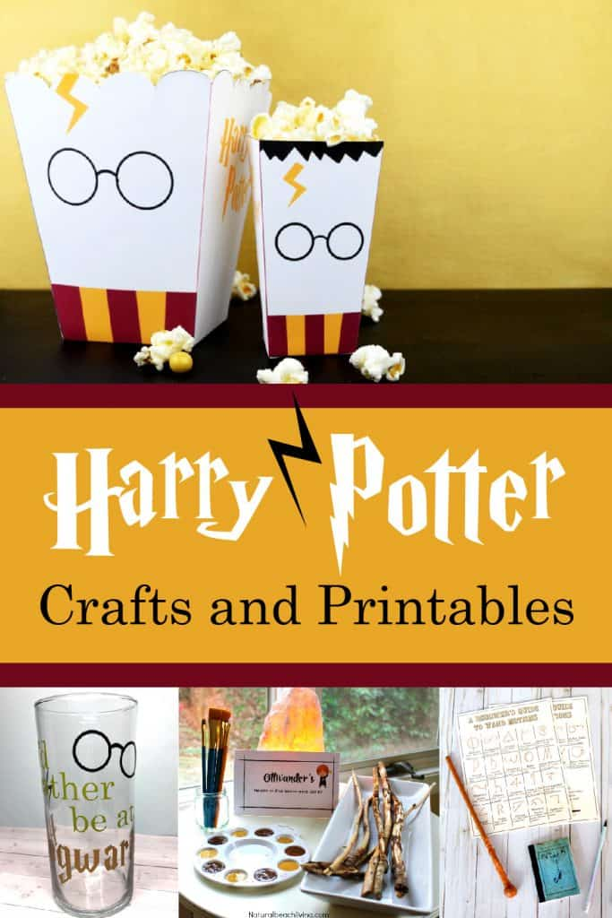 Harry Potter crafts in a collage.