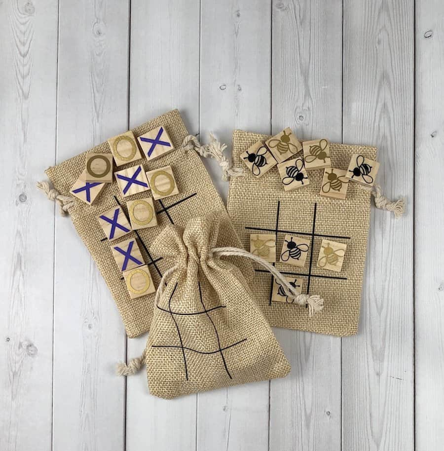 Tic tac toe boards for wedding favors or party favors with bumblebees.