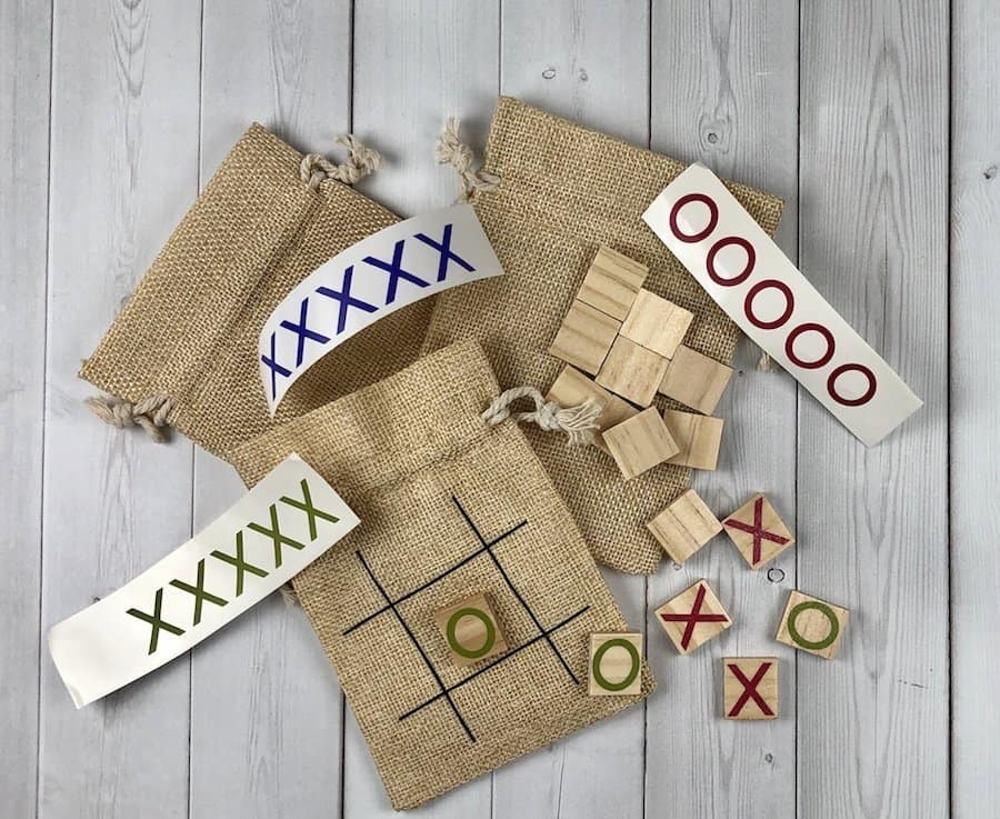 Tic Tac Toe Boards made from burlap bags, wooden tiles, and vinyl.
