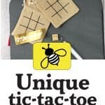 tic tac toe board on burlap bags and vinyl bumble bees.