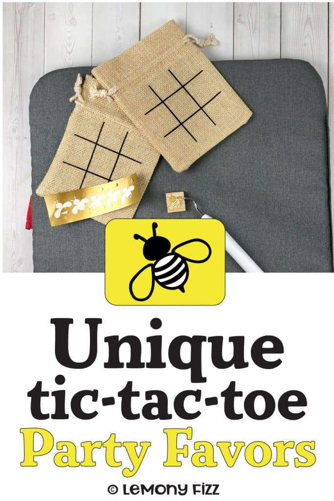 Tic tac toe boards on a burlap bag and vinyl bumblebees.