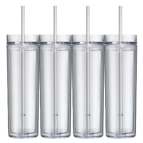 Acrylic drink tumblers for craft blanks.