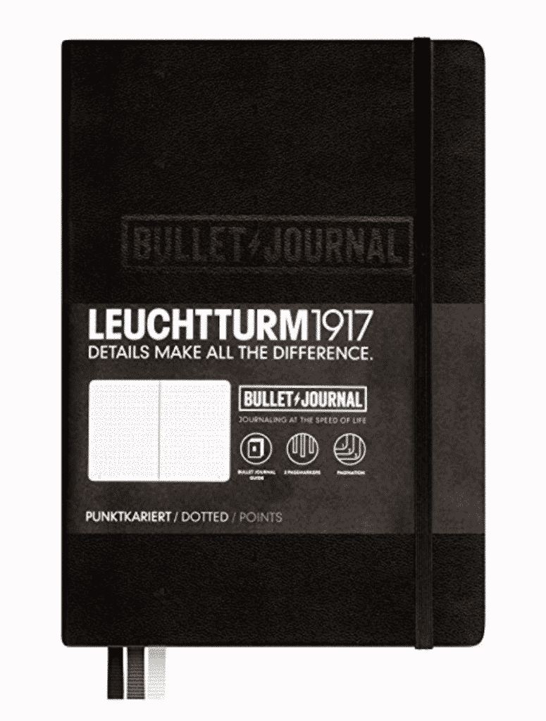 Black Leuchtturm bullet journal for personalizing.