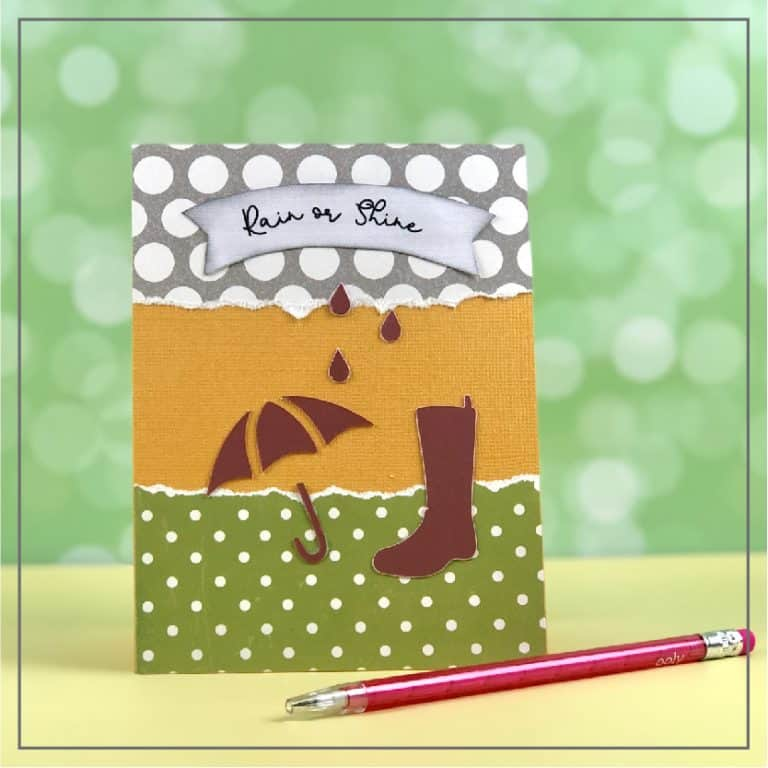 Spring greeting card with umbrella and raindrops.