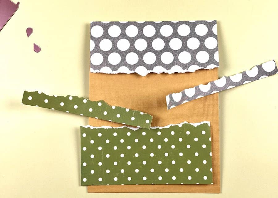 Orange cardstock with polkadot papers and torn edges.