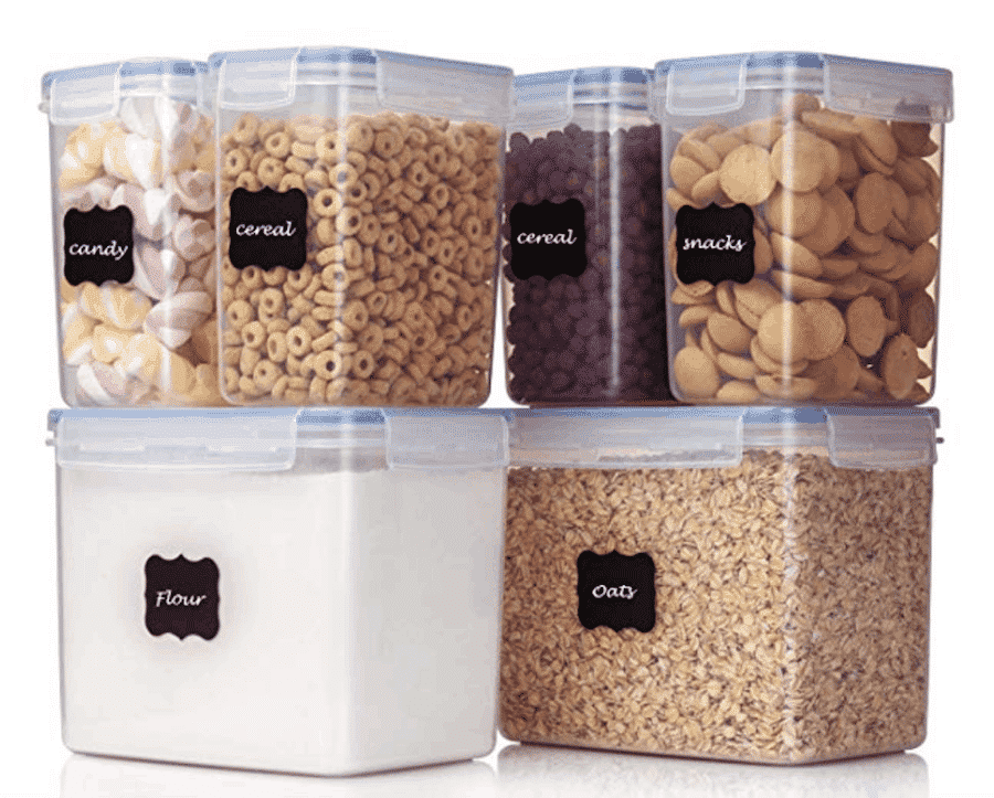 Pantry storage containers with chalk labels.