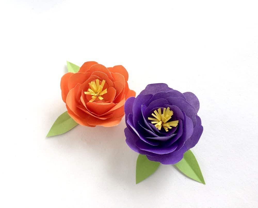 Two paper peonies in orange and purple.