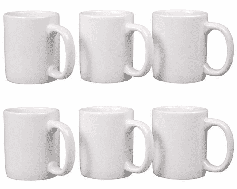 Set of 6 white coffee cups for craft blanks.