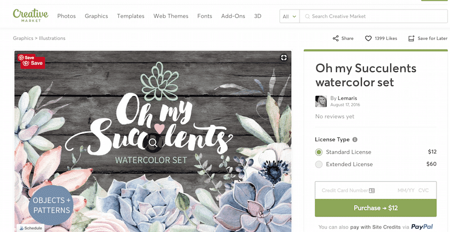 Oh My Succulents set for printable diy wall art on Creative Market.