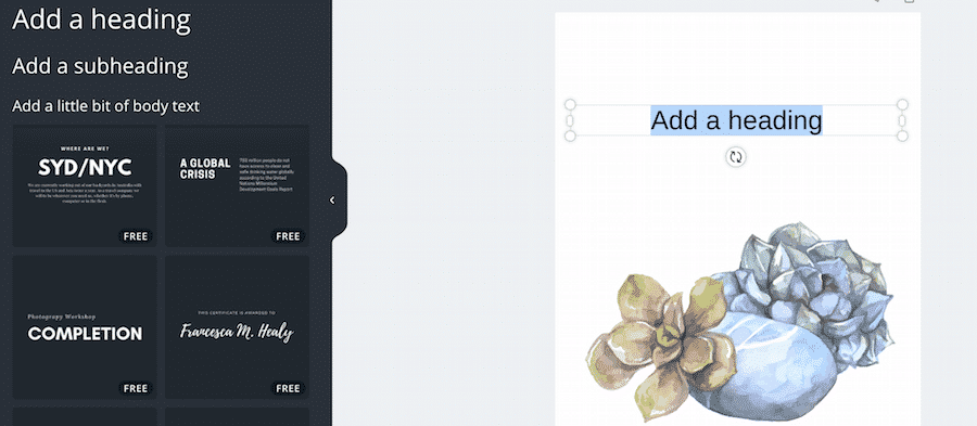 Click on the text tool and add a heading to your succulent decor printable.