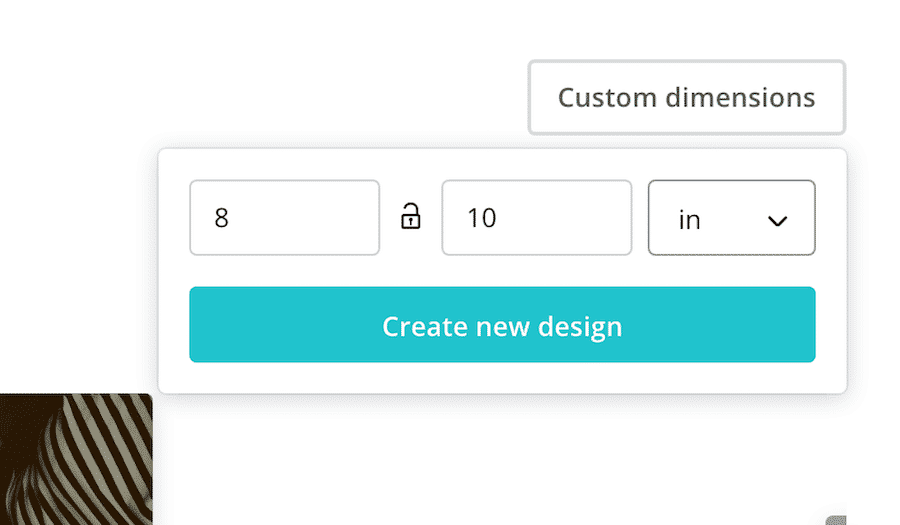 Enter the size of your printable. Select inches for your unit of measurement.
