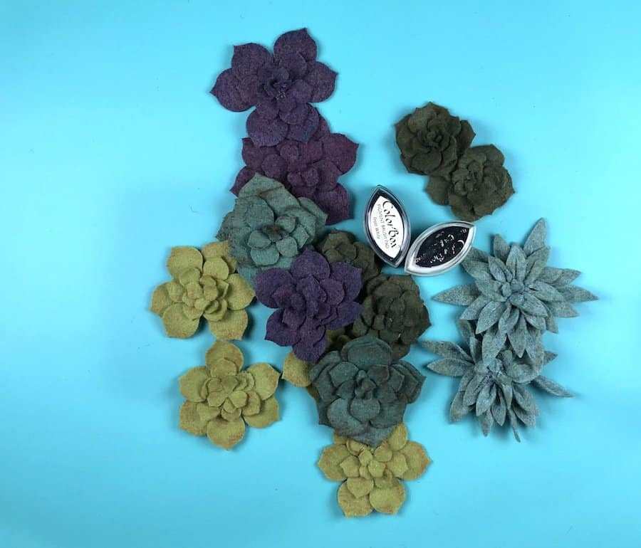 Felt succulents in dark greens and purples.