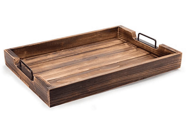 Wooden tray with handles for craft blanks and home decor.