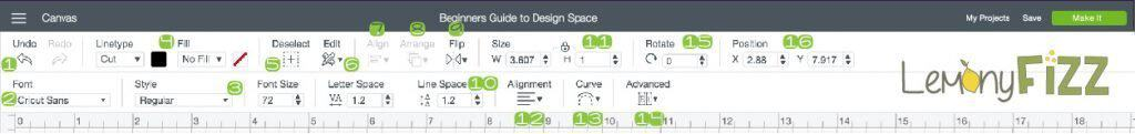 The main toolbar and menu for editing objects in Cricut Design Space.