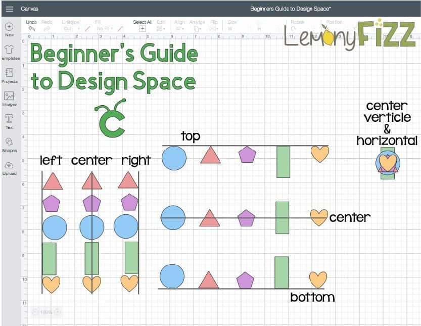 Align and distribute tool for Cricut Design Space.