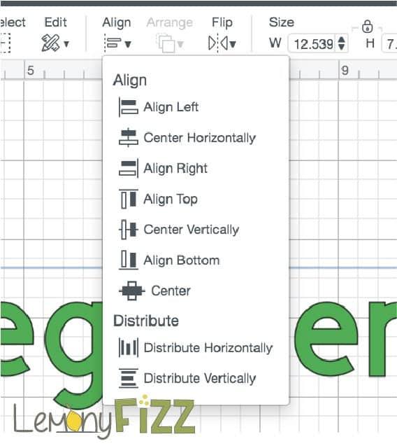 Align tools drop down menu.