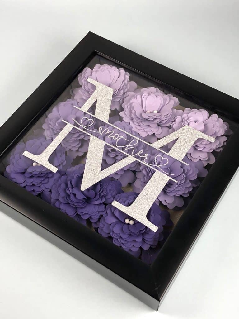 mom shadow box with Cricut flowers for Mother's Day