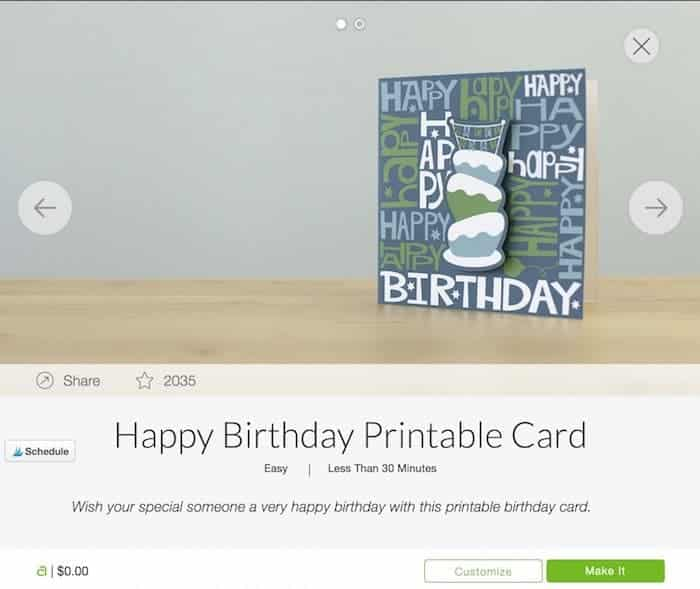 Print and cut Cricut birthday card.
