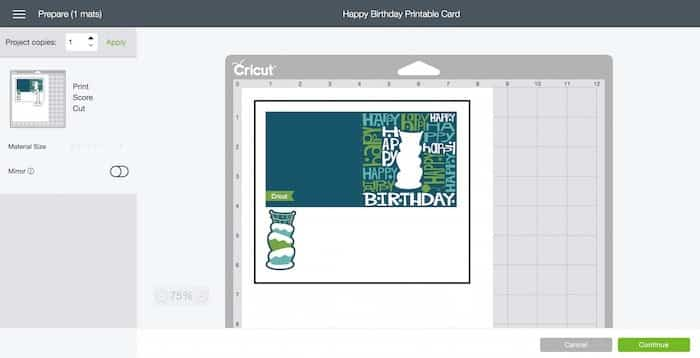 Happy Birthday card for print and cut Cricut projects.