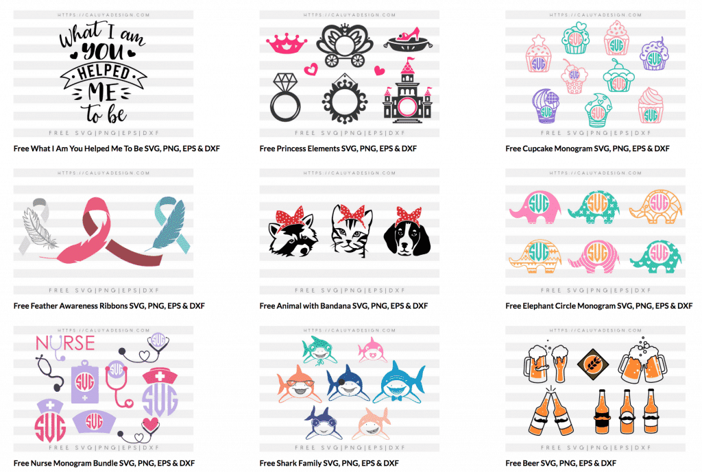 A collection of designs by Caluya Designs for free SVG cut files.