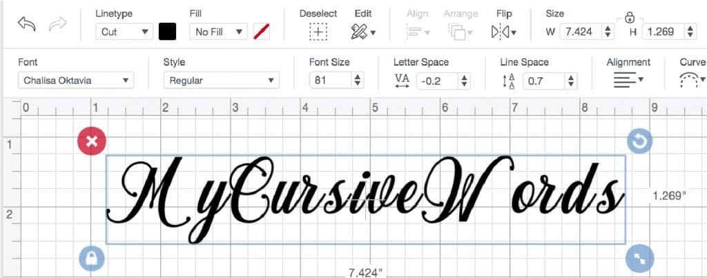 Adjust letter spacing by using the letter space tool in Cricut Design Space.