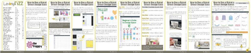 Cricut Guide book cheat sheet pages.