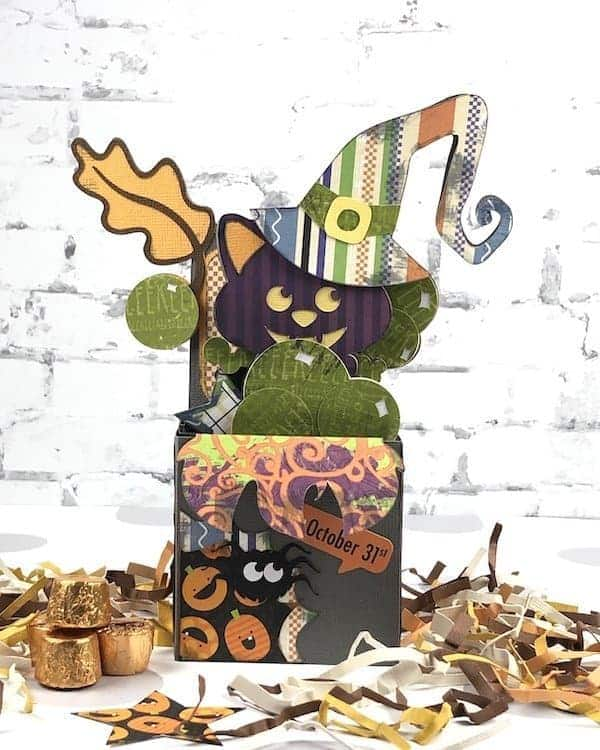 Halloween cat in a Halloween card.