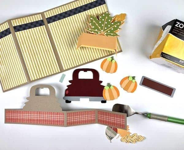 supplies for creating a fall harvest pumpkin truck card